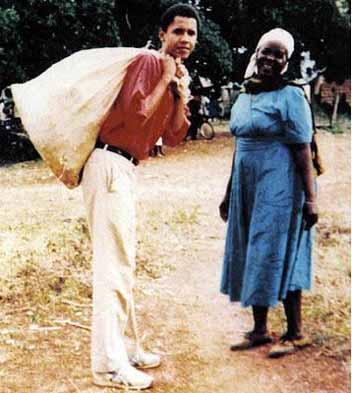 Barack Obama with his granmother Sarah Hussein