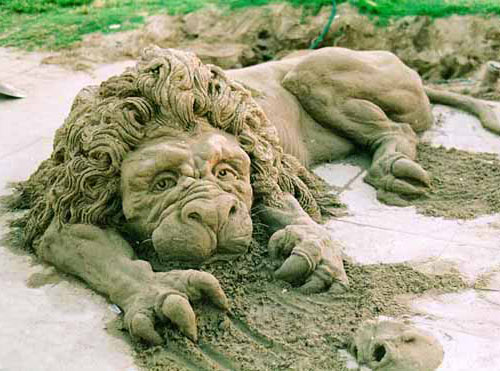 sand sculpture - Lion
